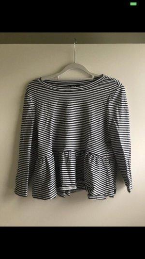 Sweater met korte mouwen wit-donkerblauw