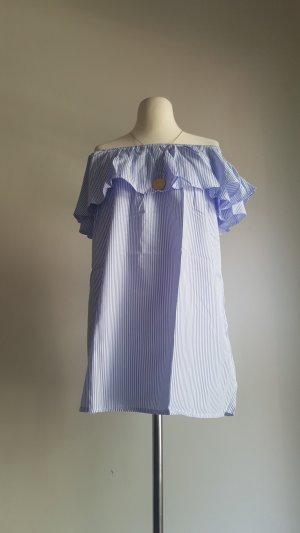 Robe épaules nues blanc-bleu azur polyester