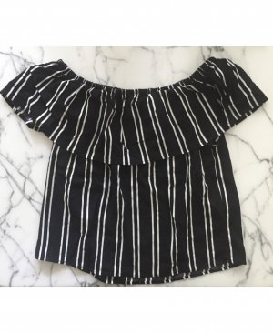 Object Flounce Top black-white viscose