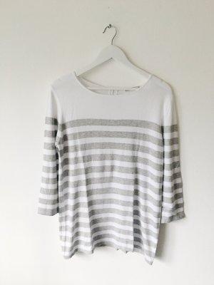 Cassis Gestreept shirt wit-lichtgrijs