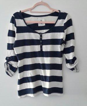 H&M Camisa larga blanco-azul oscuro