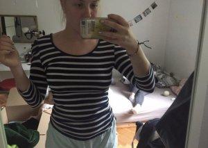Boothalsshirt wit-donkerblauw
