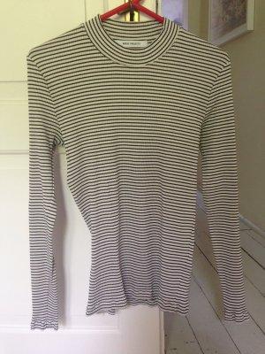 Camisa de rayas negro-blanco puro Algodón