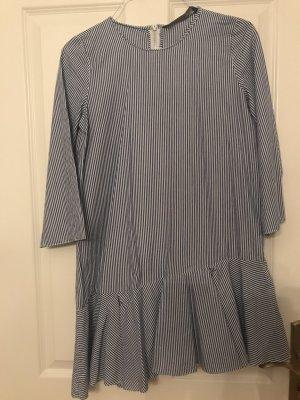 Zara Trafaluc Peplum jurk wit-azuur