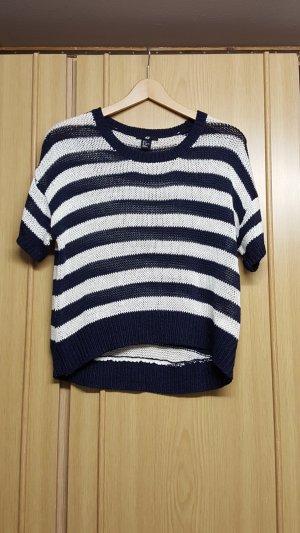 H&M Crochet Shirt white-dark blue polyacrylic