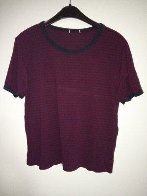 Brandy & Melville Gestreept shirt donkerblauw-donkerrood