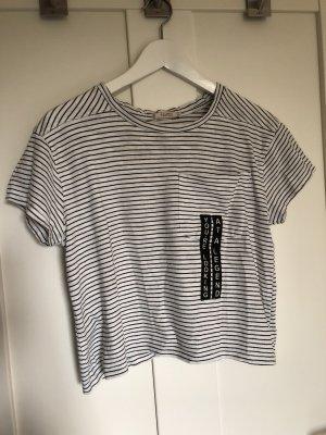 Pull & Bear Camisa de rayas blanco-negro