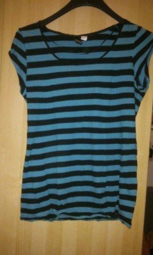 H&M Divided Gestreept shirt zwart-cadet blauw