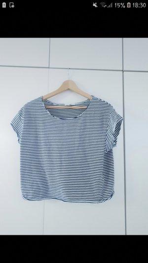 Zara Camicia cropped bianco-blu scuro