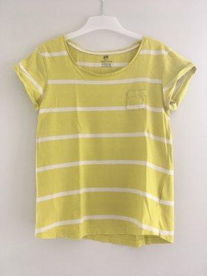 H&M Gestreept shirt limoen geel-wit