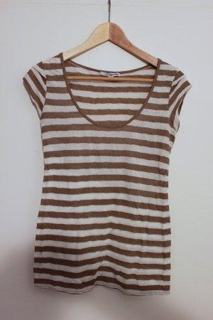 Gestreiftes T-Shirt, Braun-weiß