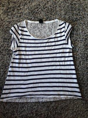 Gestreiftes T-Shirt mit Spitz Gr.36