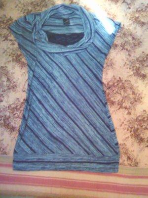 Camisa con cuello caído gris-azul oscuro