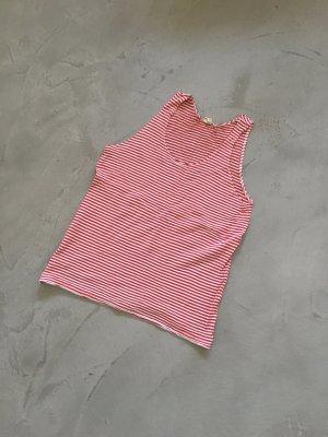 American Apparel Top senza maniche bianco-rosso lampone Cotone