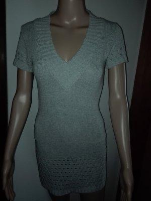 Gestrickte Mini Kleid aus Baumwoll-Acryl Mischung,in hell grau Farbe