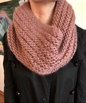 Gebreide sjaal roségoud-stoffig roze
