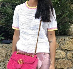 Top lavorato a maglia bianco-rosa