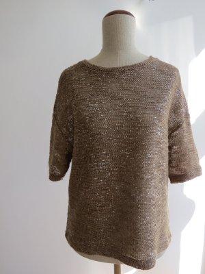 Gestricktes Shirt in Metallicoptik von Topshop / camel