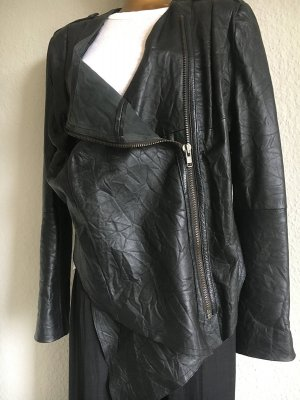 Gestuz Asymmetrische Lederjacke Gr.38 schwarz Casual-Look