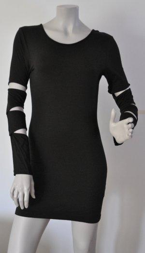 Gestuz Jersey Kleid Longshirt Cut-Outs schwarz Viskose Elasthan Gr. M UNGETRAGEN