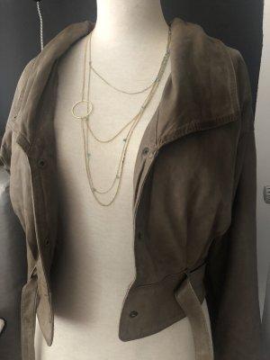 Gestuz Leder Jacke Bolero grau/grün Gr 38