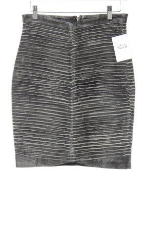 Gestuz Leather Skirt dark grey-light grey striped pattern casual look