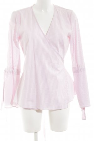 Gestuz Wickel-Bluse weiß-pink Streifenmuster Casual-Look