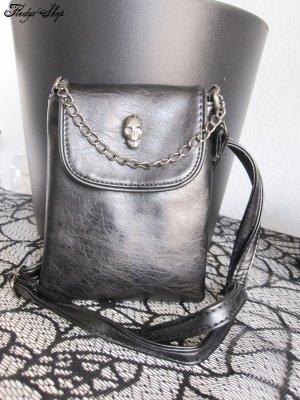 GETHOME kleine Damen Ledertasche Handbag Totenkopf