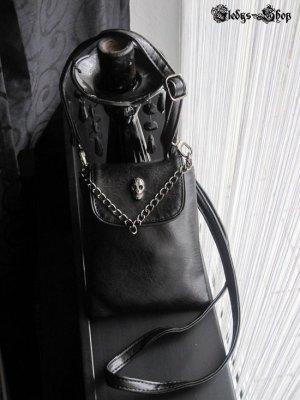 GETHOME kleine Damen Ledertasche Handbag Totenkopf Handy Tasche Umhängetasche