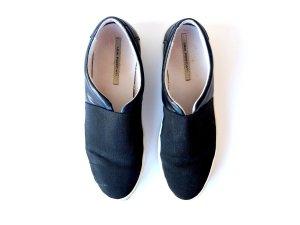 getragene Sneaker Lea Foscati Gr. 39 schwarz Textil Leder Farfetch Luxus Slipper