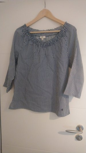Basefield Slip-over blouse wit-donkerblauw