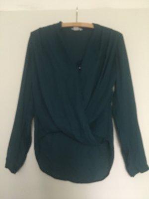 Gewickelte, petrolfarbene Bluse von H&M, 34