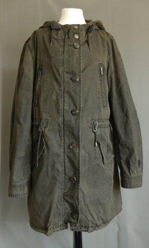 Abrigo con capucha color bronce-negro tejido mezclado