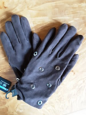 Leather Gloves silver-colored-dark brown suede