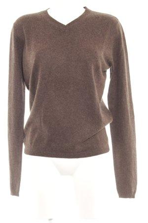 Giada V-Ausschnitt-Pullover dunkelbraun Casual-Look