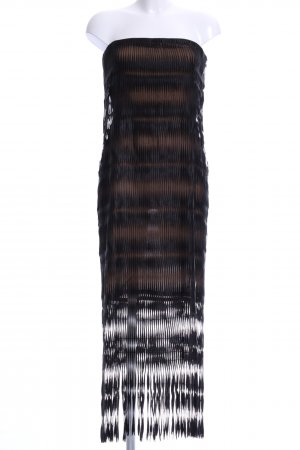 Gianfranco Ferré Corsagenkleid schwarz-hellbraun abstraktes Muster Elegant
