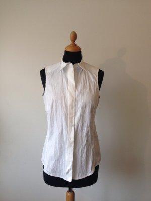 Gianfranco Ferre Luxus long Top Designer Baumwolle Bluse Intarsien Muster vorne ärmellos