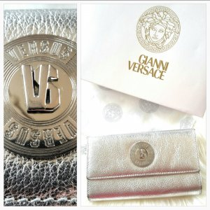 Gianni Versace Wallet white-silver-colored leather