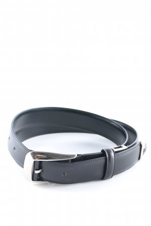 Gianni Versace Leather Belt black-silver-colored classic style