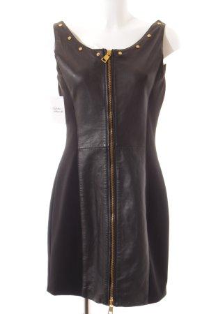 Gianni Versace Lederkleid schwarz Gypsy-Look