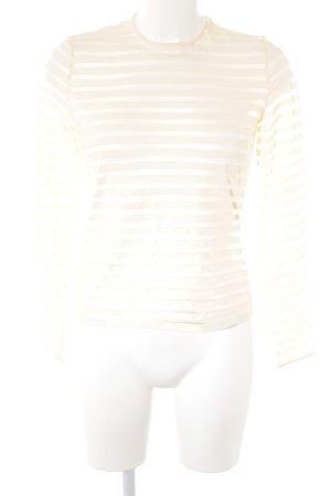 Gianni Versace Longsleeve creme Streifenmuster Materialmix-Look