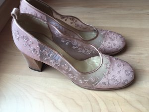 Gianni Versace Pumps met bandjes stoffig roze