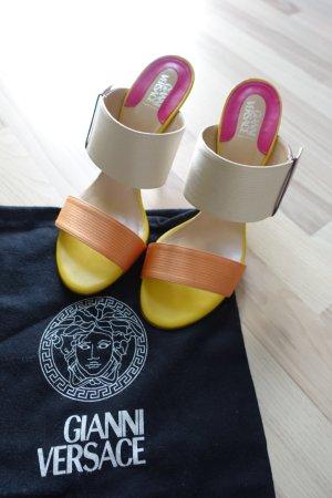 Gianni VERSACE Schuhe, Slip-on High Heel Sandalen, in Bonbon Farben, aus Seide und Leder, Gr. 40,5