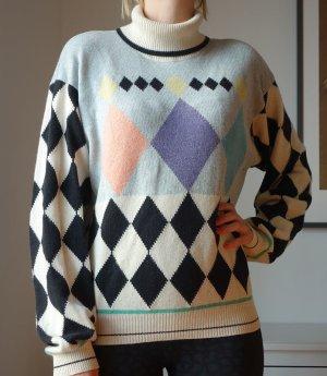 GIANNI VERSACE Vintage Rollkragen Pullover Strickpullover mit Kaschmir, Angora & Seide Rauten-Muster Designer Gr. M/ L