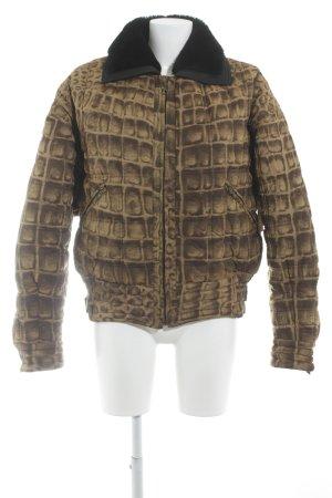 Gianni Versace Winterjacke sandbraun-schwarz Animalmuster Retro-Look