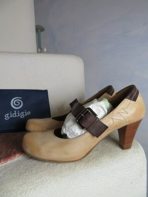 gidigio Escarpins Mary Jane beige clair-brun cuir