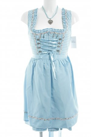 Giesswein Dirndl baby blue-white check pattern medieval style