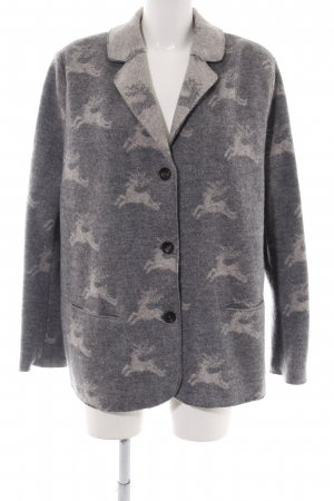 Giesswein Knitted Blazer light grey-natural white animal pattern casual look