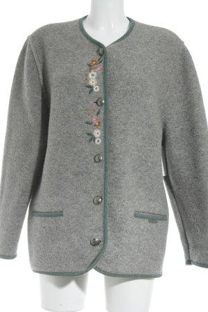 Giesswein Wolljacke grau-dunkelgrün florales Muster extravaganter Stil
