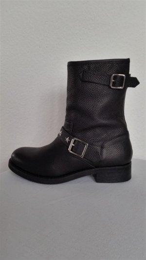 Gigi Hadid for Tommy Hilfiger, Biker-Boots, Leder, schwarz, 40, neu